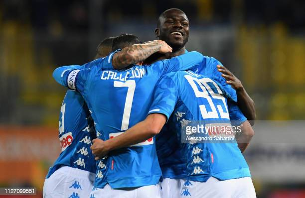 Arkadiusz Milik of SSC Napoli celebrates after scoring his team second goal with team mates during the Serie A match between Parma Calcio and SSC...