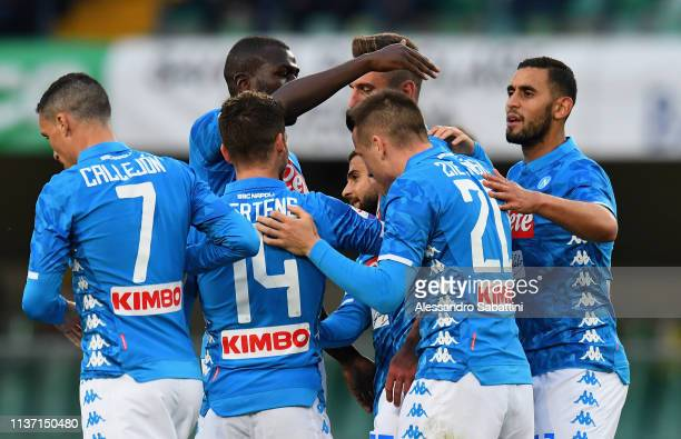 Arkadiusz Milik of SSC Napoli celebrates after scoring his team second goal during the Serie A match between Chievo Verona and SSC Napoli at Stadio...