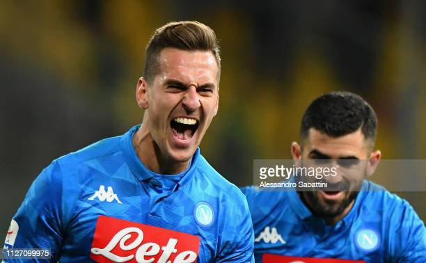 Arkadiusz Milik of SSC Napoli celebrates after scoring his team's second goal during the Serie A match between Parma Calcio and SSC Napoli at Stadio...