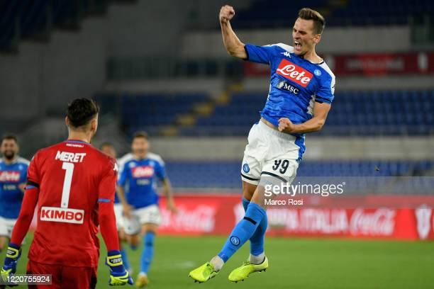 Arkadiusz Milik of SSC Napoli celebrates after scoring last penalty kick during the Coppa Italia Final match between Juventus and SSC Napoli winner...