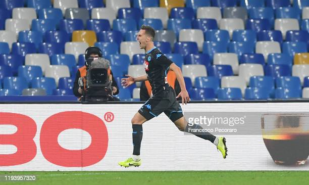 Arkadiusz Milik of SSC Napoli celebrates after scoring the 11 goal during the Serie A match between SSC Napoli and Parma Calcio at Stadio San Paolo...