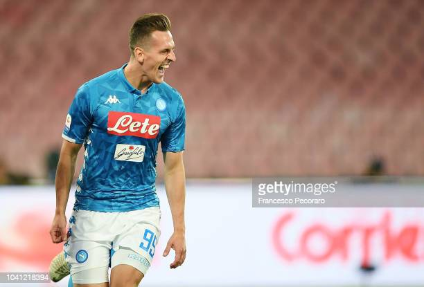 Arkadiusz Milik of SSC Napoli celebrates after scoring the 20 goal during the serie A match between SSC Napoli and Parma Calcio at Stadio San Paolo...