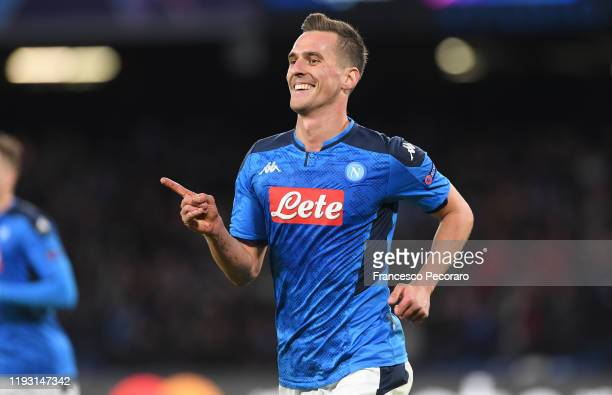 Arkadiusz Milik of SSC Napoli celebrates after scoring the 20 goal during the UEFA Champions League group E match between SSC Napoli and KRC Genk at...