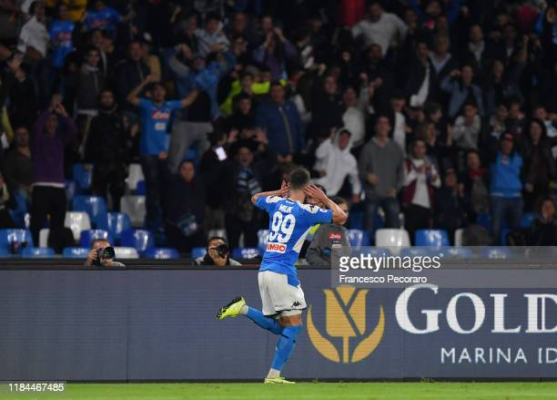Arkadiusz Milik of SSC Napoli celebrates after scoring the 21 goal during the Serie A match between SSC Napoli and Atalanta BC at Stadio San Paolo on...