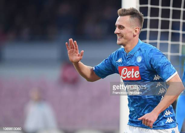 Arkadiusz Milik of SSC Napoli celebrates after scoring the 30 goal during the Serie A match between SSC Napoli and Frosinone Calcio at Stadio San...
