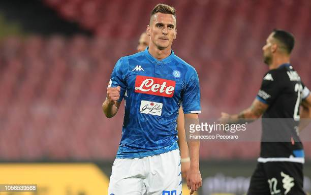 Arkadiusz Milik of SSC Napoli celebrates after scoring the 41 goal during the Serie A match between SSC Napoli and Empoli at Stadio San Paolo on...