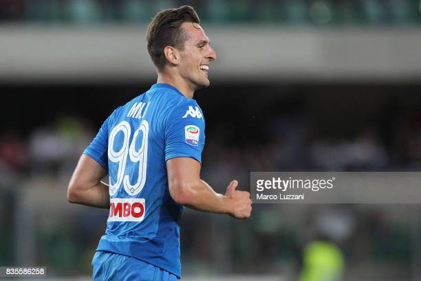 Arkadiusz Milik of SSC Napoli celebrates his goal during the Serie A match between Hellas Verona and SSC Napoli at Stadio Marcantonio Bentegodi on...
