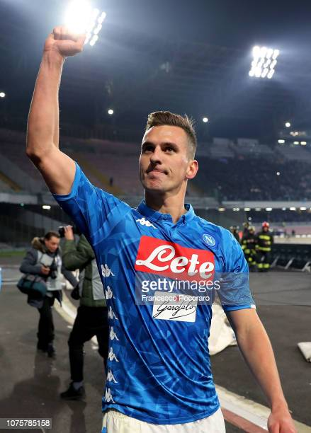 Arkadiusz Milik of SSC Napoli celebrates the victory after the Serie A match between SSC Napoli and Bologna FC at Stadio San Paolo on December 29...