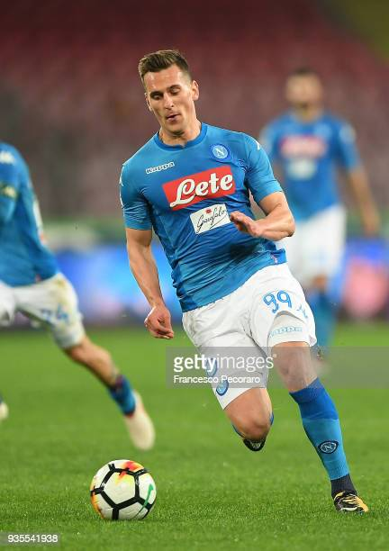Arkadiusz Milik of SSC Napoli drives the ball during the serie A match between SSC Napoli v Genoa CFC at Stadio San Paolo on March 18 2018 in Naples...