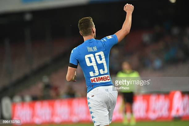 Arkadiusz Milik of SSC Napoli during the Serie A match between Napoli v Milan at San Paolo Stadium on August 27 2016 in Naples Italy