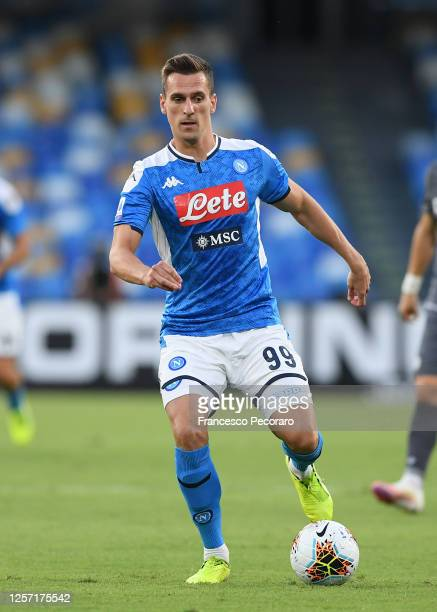 Arkadiusz Milik of SSC Napoli during the Serie A match between SSC Napoli and Udinese Calcio at Stadio San Paolo on July 19, 2020 in Naples, Italy.