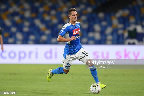 Arkadiusz Milik of SSC Napoli during the Serie A match between SSC Napoli and US Sassuolo at Stadio San Paolo on July 25, 2020 in Naples, Italy.