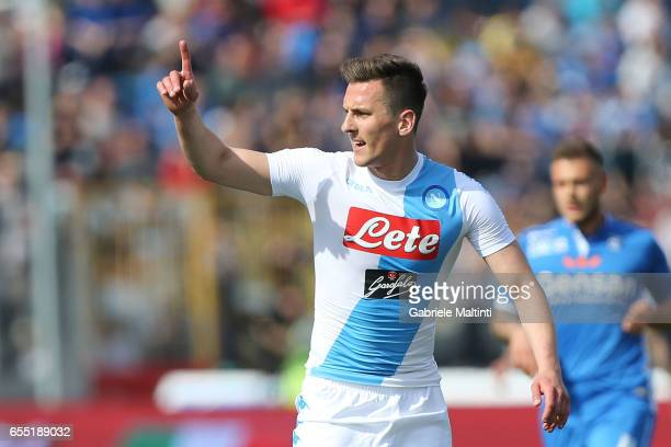 Arkadiusz Milik of SSC Napoli gestures during the Serie A match between Empoli FC and SSC Napoli at Stadio Carlo Castellani on March 19 2017 in...