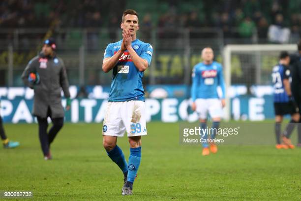 Arkadiusz Milik of Ssc Napoli greet the fans at the end of the Serie A football match between Fc Internazionale and Ssc Napoli The final score was 00