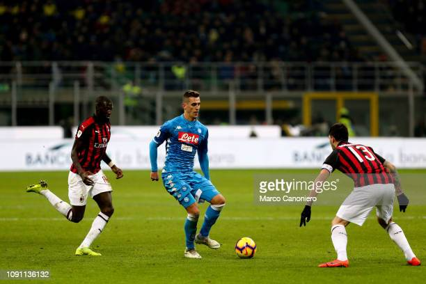Arkadiusz Milik of Ssc Napoli in action during Coppa Italia quarterfinals football match between Ac Milan and Ssc Napoli Ac Milan wins 20 over Ssc...