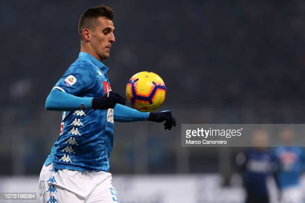 Arkadiusz Milik of Ssc Napoli in action during the Serie A football match between FC Internazionale and Ssc Napoli Fc Internazionale wins 10 over Ssc...