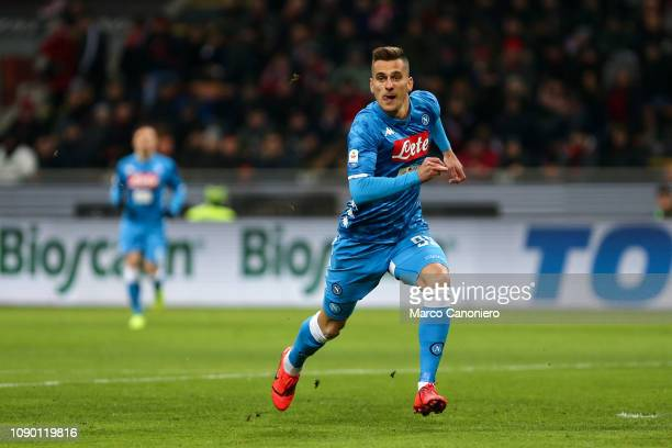 Arkadiusz Milik of Ssc Napoli in action during the Serie A football match between Ac Milan and Ssc Napoli The match end in a tie 00