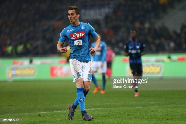 Arkadiusz Milik of Ssc Napoli in action during the Serie A football match between Fc Internazionale and Ssc Napoli The final score was 00