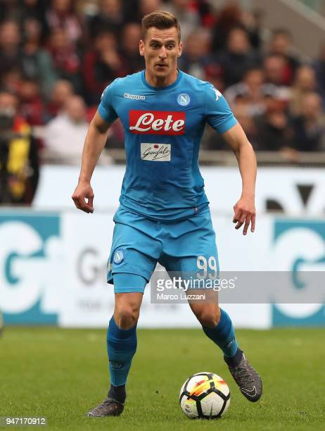 Arkadiusz Milik of SSC Napoli in action during the serie A match between AC Milan and SSC Napoli at Stadio Giuseppe Meazza on April 15 2018 in Milan...