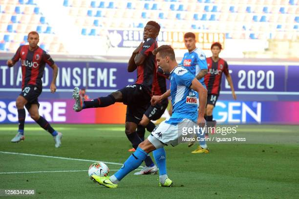 Arkadiusz Milik of SSC Napoli in action during the Serie A match between Bologna FC and SSC Napoli at Stadio Renato Dall'Ara on July 15 2020 in...