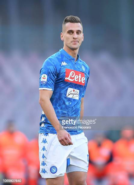 Arkadiusz Milik of SSC Napoli in action during the Serie A match between SSC Napoli and Frosinone Calcio at Stadio San Paolo on December 8 2018 in...
