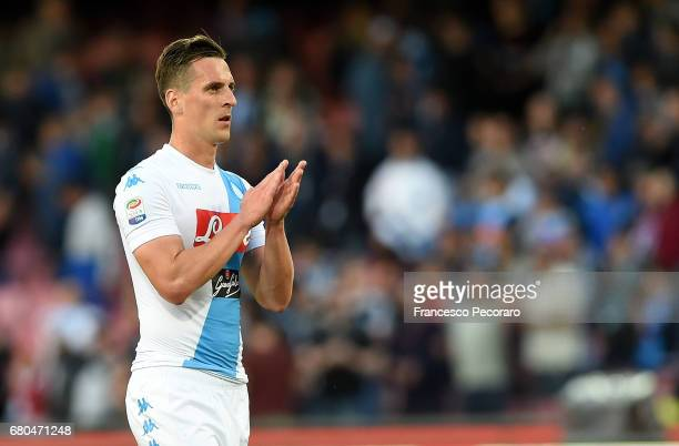 Arkadiusz Milik of SSC Napoli in action during the Serie A match between SSC Napoli and Cagliari Calcio at Stadio San Paolo on May 6 2017 in Naples...