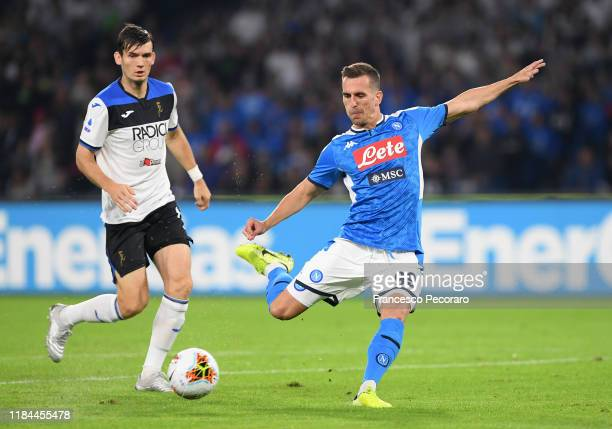 Arkadiusz Milik of SSC Napoli kicks the ball during the Serie A match between SSC Napoli and Atalanta BC at Stadio San Paolo on October 30 2019 in...