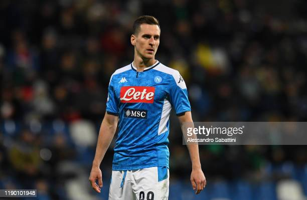 Arkadiusz Milik of SSC Napoli looks on during the Serie A match between US Sassuolo and SSC Napoli at Mapei Stadium - Citta del Tricolore on December...