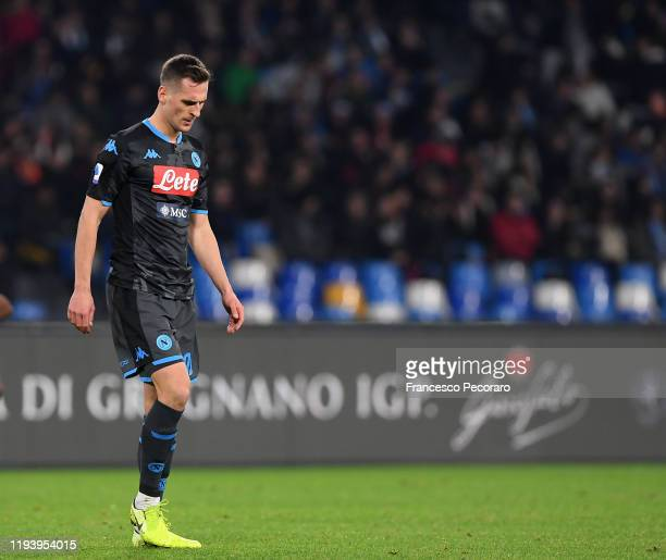 Arkadiusz Milik of SSC Napoli reacts during the Serie A match between SSC Napoli and Parma Calcio at Stadio San Paolo on December 14 2019 in Naples...