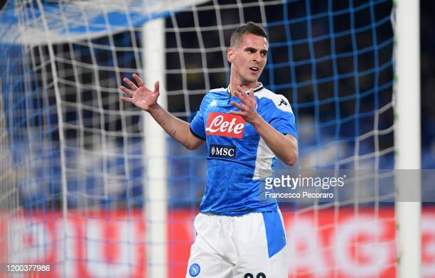 Arkadiusz Milik of SSC Napoli reacts during the Serie A match between SSC Napoli and ACF Fiorentina at Stadio San Paolo on January 18, 2020 in...