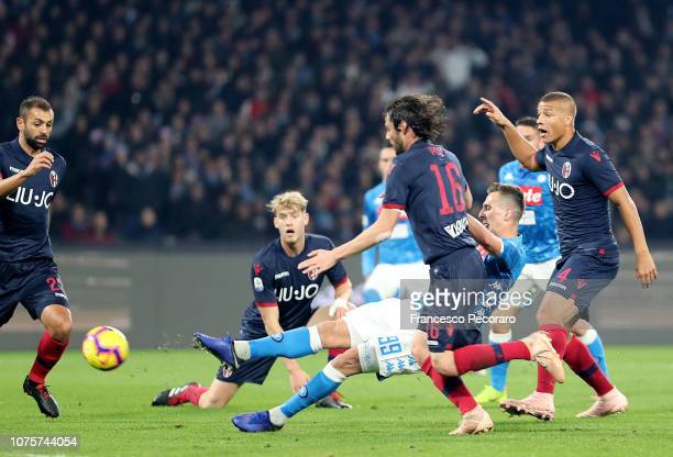 Arkadiusz Milik of SSC Napoli scores the 10 goal during the Serie A match between SSC Napoli and Bologna FC at Stadio San Paolo on December 29 2018...