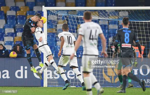 Arkadiusz Milik of SSC Napoli scores the 11 goal during the Serie A match between SSC Napoli and Parma Calcio at Stadio San Paolo on December 14 2019...