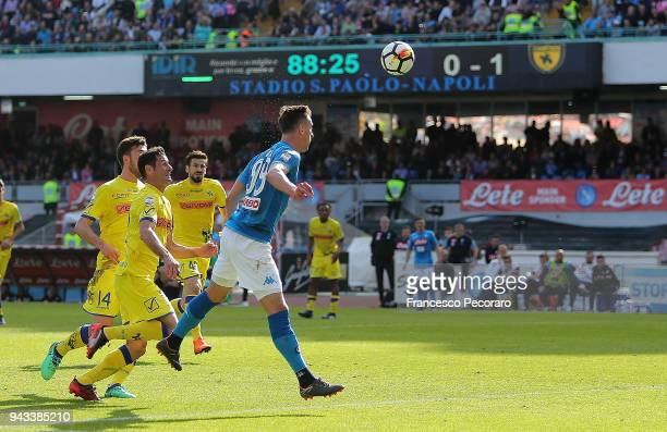 Arkadiusz Milik of SSC Napoli scores the 11 goal during the serie A match between SSC Napoli and AC Chievo Verona at Stadio San Paolo on April 8 2018...