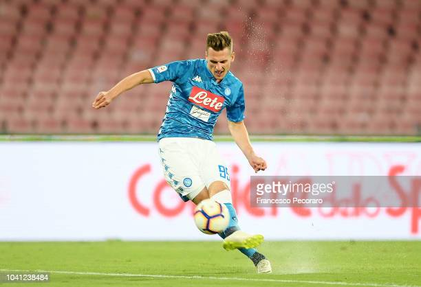 Arkadiusz Milik of SSC Napoli scores the 2-0 goal during the serie A match between SSC Napoli and Parma Calcio at Stadio San Paolo on September 26,...