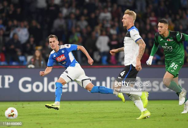 Arkadiusz Milik of SSC Napoli scores the 21 goal during the Serie A match between SSC Napoli and Atalanta BC at Stadio San Paolo on October 30 2019...
