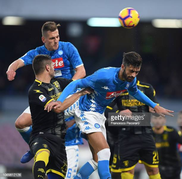 Arkadiusz Milik of SSC Napoli scores the 30 goal during the Serie A match between SSC Napoli and Frosinone Calcio at Stadio San Paolo on December 8...