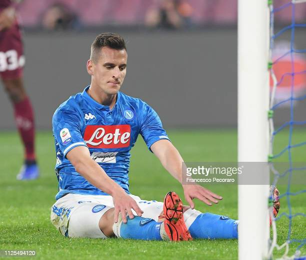 Arkadiusz Milik of SSC Napoli stands disappointed during the Serie A match between SSC Napoli and Torino FC at Stadio San Paolo on February 17 2019...