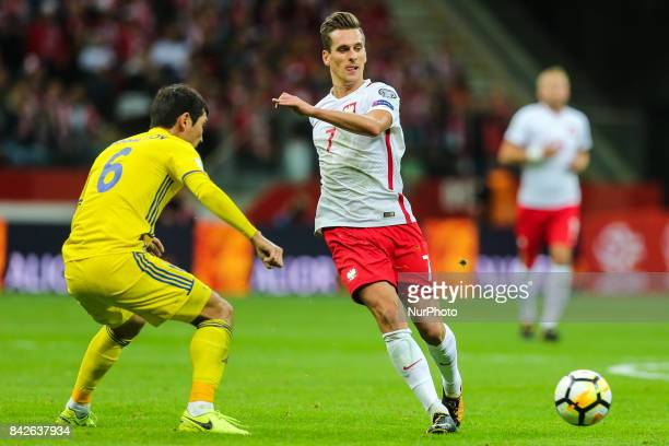 Arkadiusz Milik Yeldos Akhmetov during the FIFA World Cup 2018 qualification match between Poland and Kazakhstan in Warsaw on September 4 2017