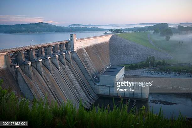 usa, arkansas, beaver lake dam, elevated view - hydroelectric power station stock photos and pictures