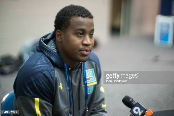 Arkansas defensive tackle Jeremiah Ledbetter answers questions from members of the media during the NFL Scouting Combine on March 4 2017 at Lucas Oil...