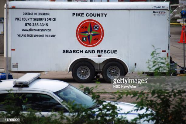 Arkansas Flash Floods -- Pictured: Police command post for Arkansas Flash Floods that claimed 20 lives at the Albert Pike Campground near Langley,...