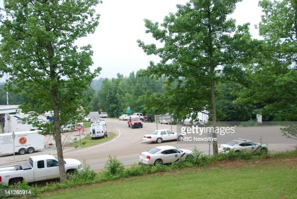 NBC NEWS Arkansas Flash Floods Pictured Police command post for Arkansas Flash Floods that claimed 20 lives at the Albert Pike Campground near...
