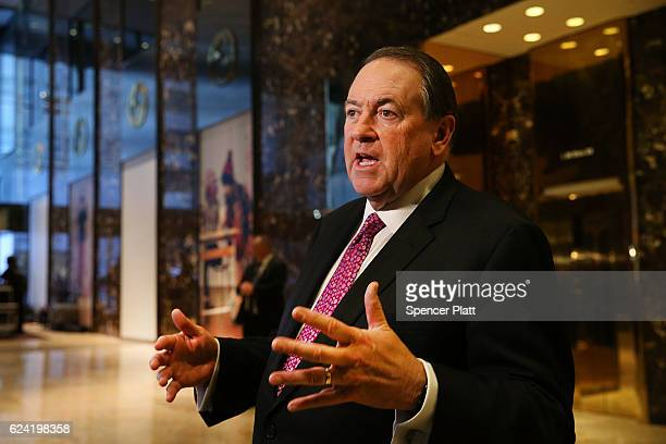 Arkansas Governor Mike Huckabee leaves Trump Tower on November 18 2016 in New York City it has been rumored than Huckabee is Presidentelect Donald...
