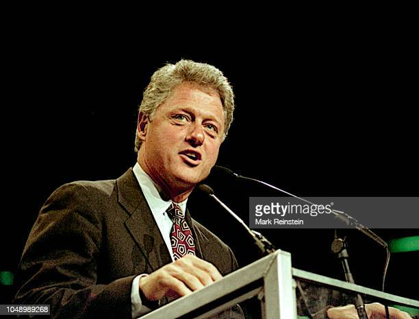 Arkansas Governor William Clinton the Democratic Presidential candidate addresses a rally in Brendan Byrne arena in the Meadowlands East Rutherford...