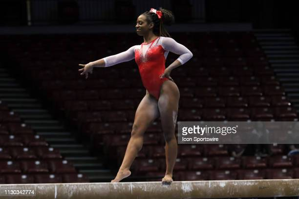 Arkansas gymnast Hailey Garner during the Elevate the Stage Meet on March 8 2019 at Legacy Arena in Birmingham Alabama