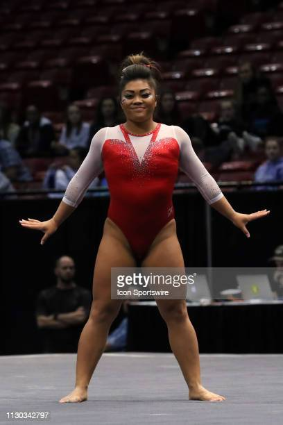 Arkansas gymnast Jessica Yamzon during the Elevate the Stage Meet on March 8 2019 at Legacy Arena in Birmingham Alabama