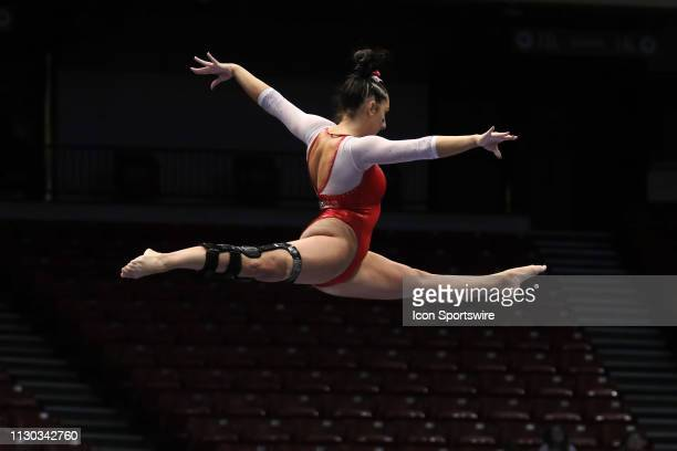 Arkansas gymnast Katarina Derrick during the Elevate the Stage Meet on March 8 2019 at Legacy Arena in Birmingham Alabama