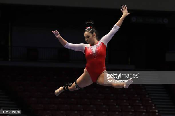 Arkansas gymnast Katarina Derrick performs during the Elevate the Stage Meet on March 8 2019 at Legacy Arena in Birmingham Alabama