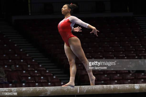 Arkansas gymnast Michaela Burton during the Elevate the Stage Meet on March 8 2019 at Legacy Arena in Birmingham Alabama