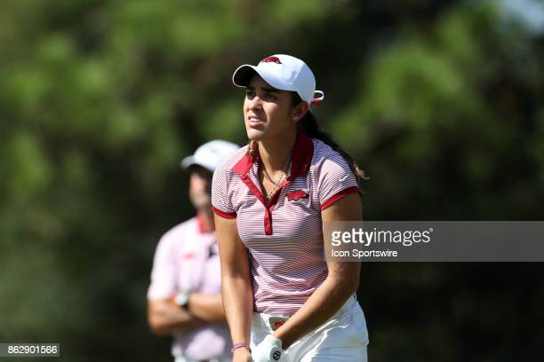 Arkansas' Maria Fassi on the 17th tee during the third and final round of the Ruth's Chris Tar Heel Invitational Women's Golf Tournament on October...